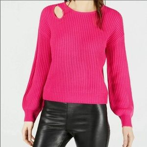 BAR III Balloon-Sleeve Cutout Sweater Pink M NWOT